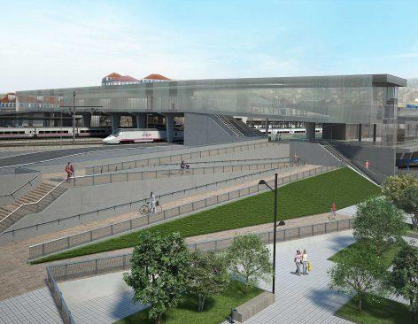 Infografías 3D de parques y estaciones ferroviarias