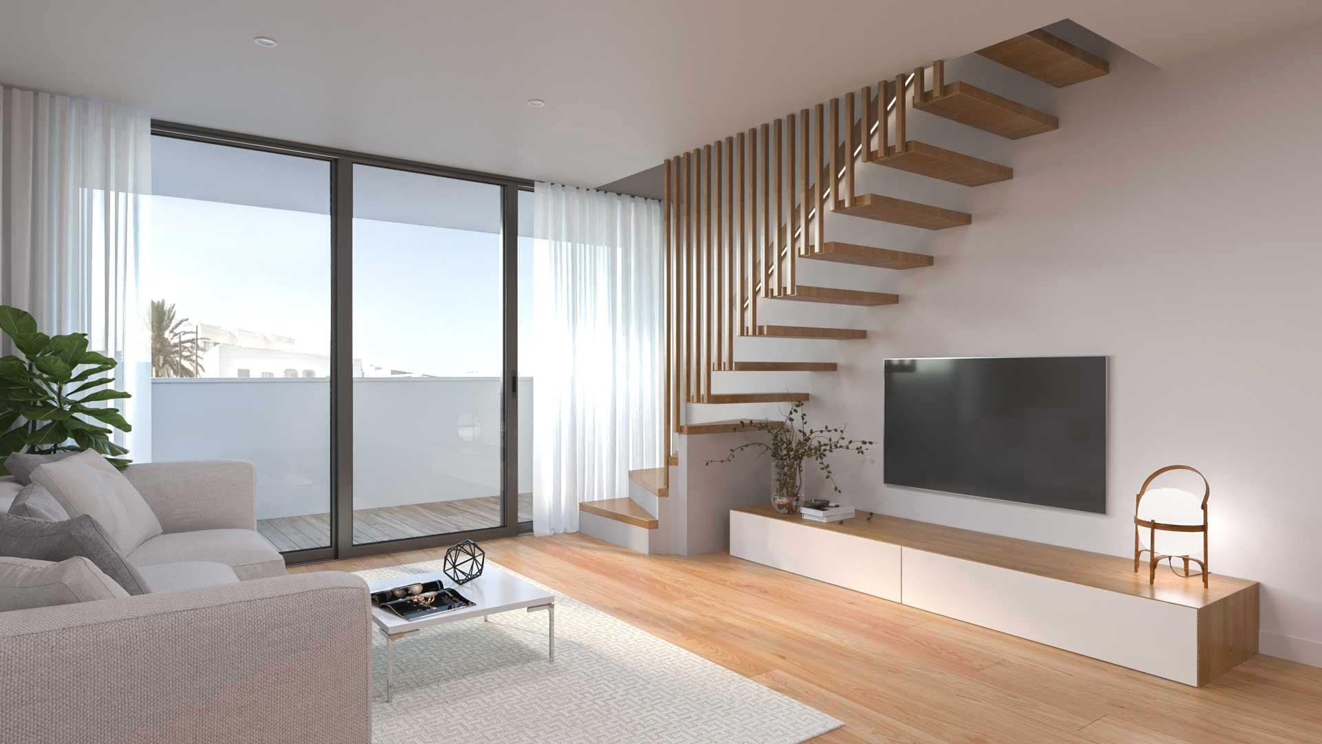 Infografía 3D interior para promoción inmobiliaria en Ibiza