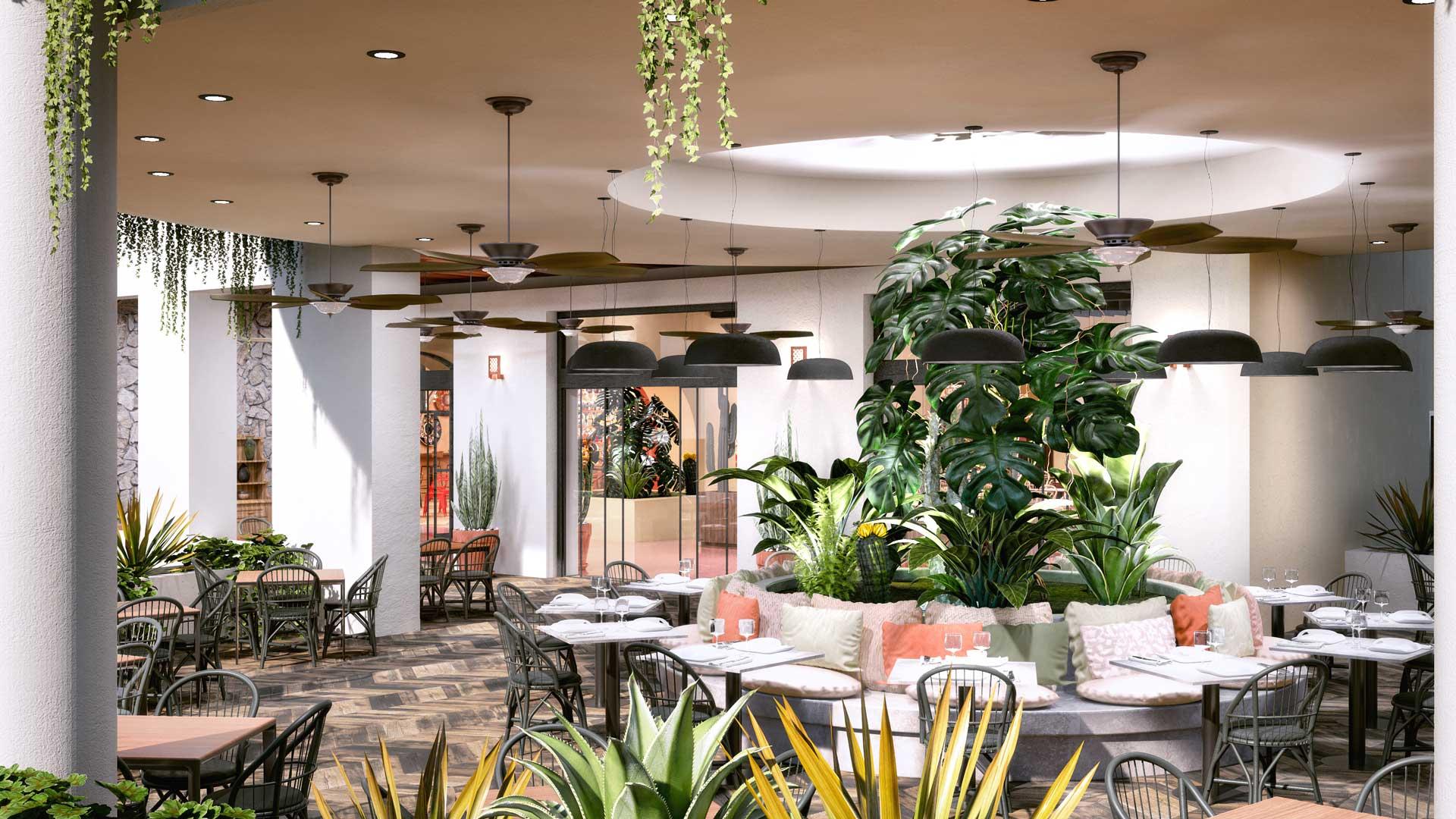 Renders para interiorismo de restaurante con decoración en Riviera Maya