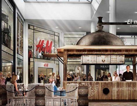 Renders de Stand Ingredients Café para centros comerciales y aeropuertos