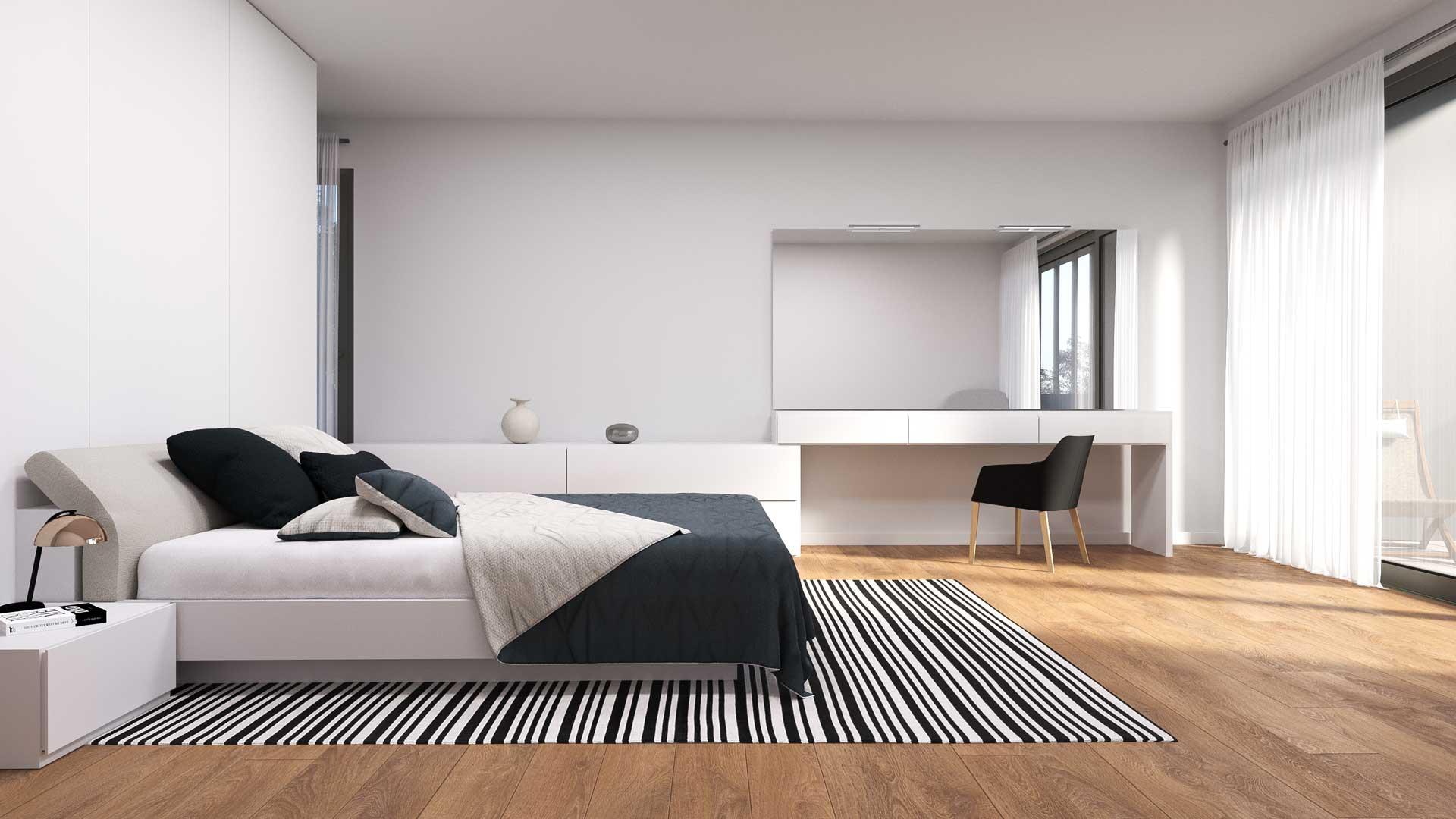 Renders de dormitorios para arquitectura residencial