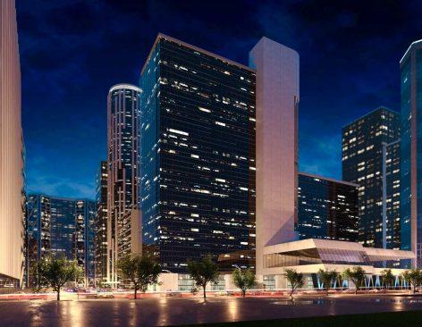 Renders de edificio de oficinas para proyecto de inversión