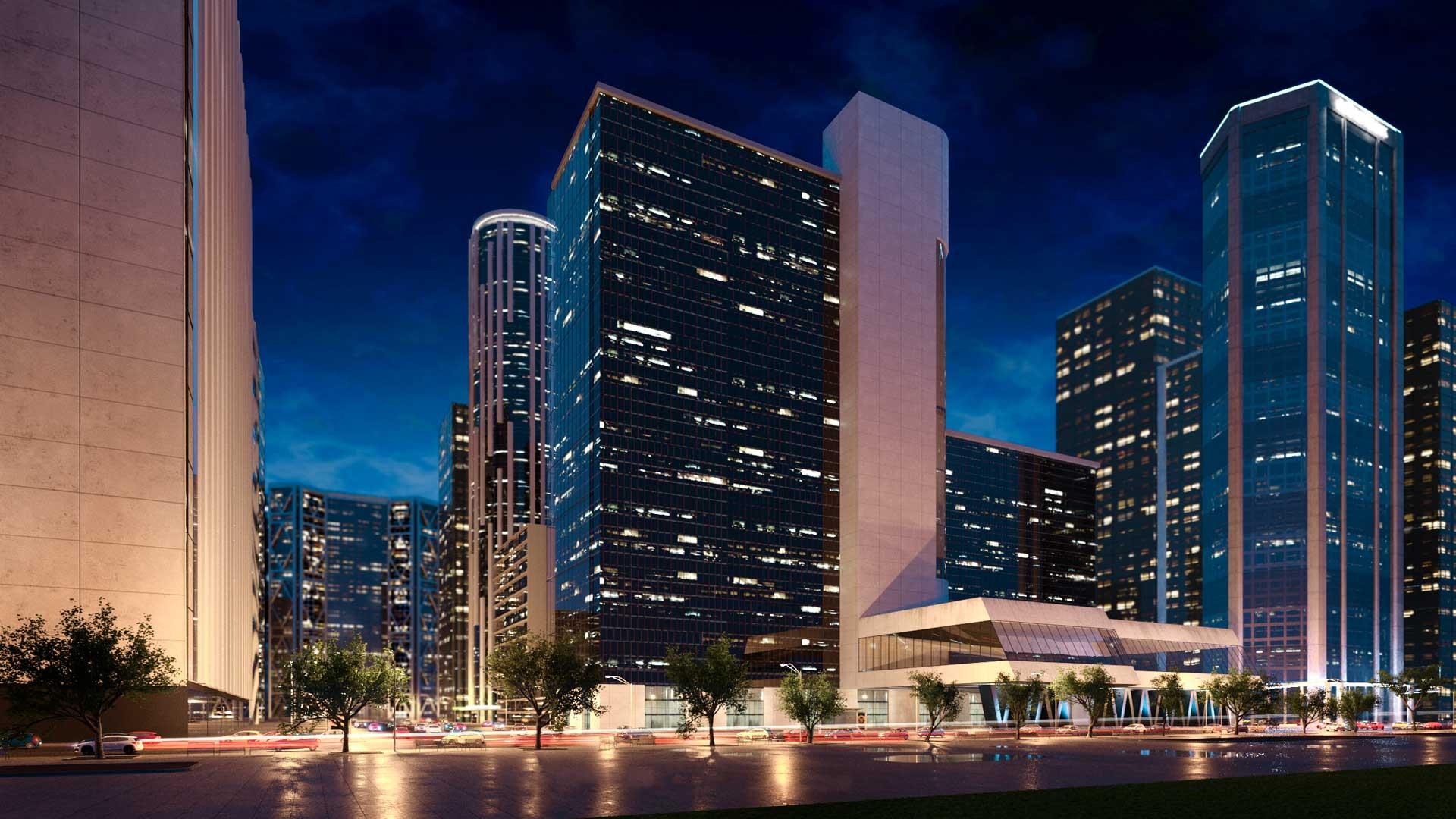 Renders de hoteles y edificios de oficinas