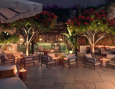 Renders restaurante y terraza de un hotel & resort en Londres