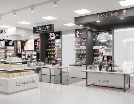 Renders de perfumería Peio en centro comercial de Navarra